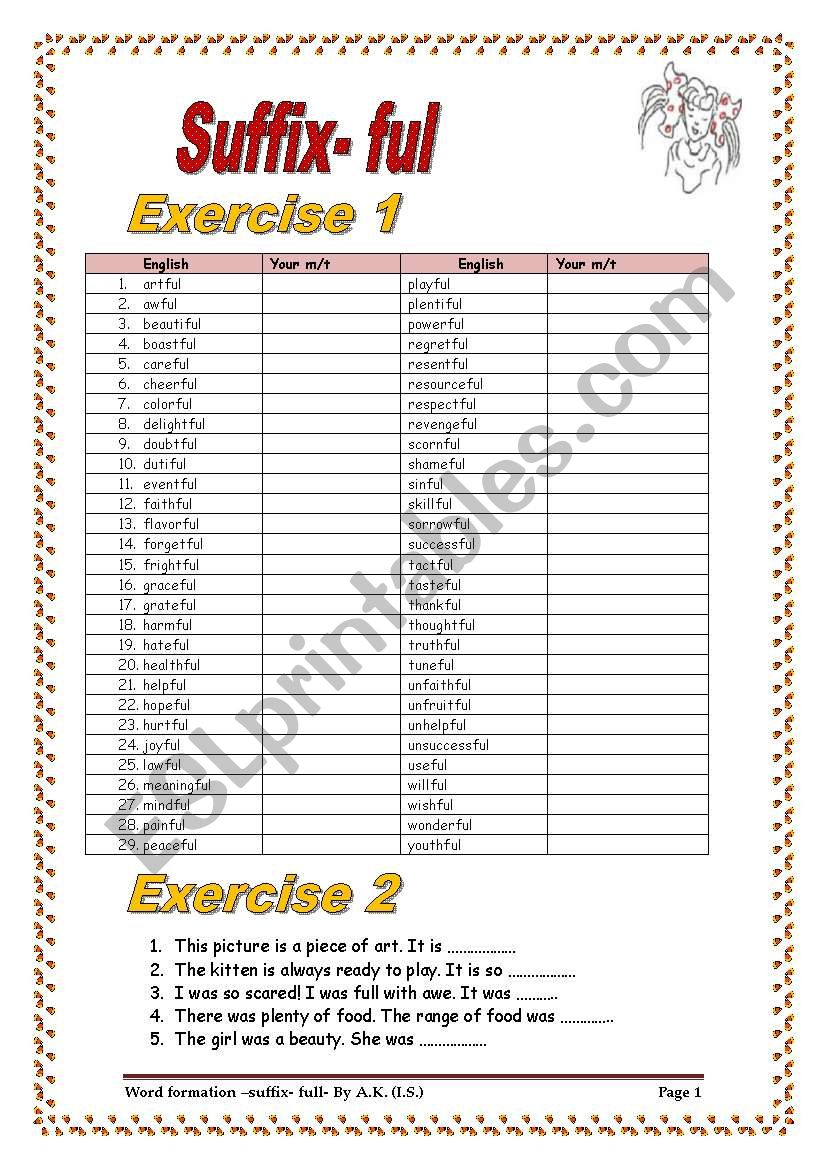 5 pages/58-word-table/more than 50 sentences to practice SUFFIX- FUL with a  KEY - ESL worksheet by allakoalla
