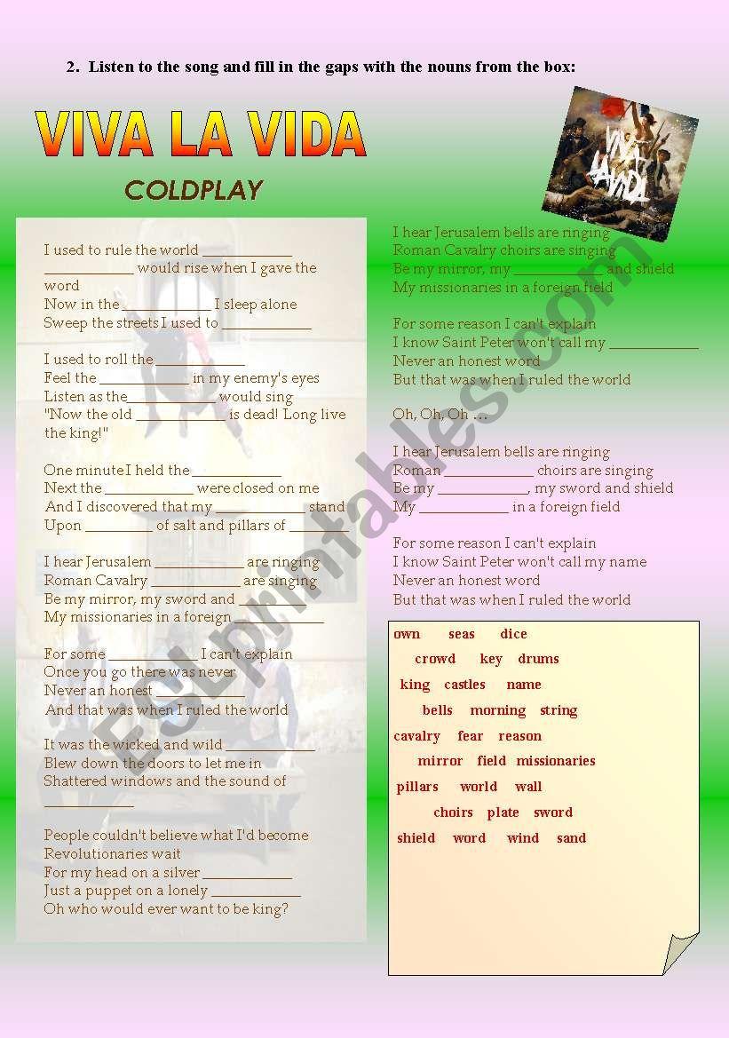 Viva la vida 2 - Coldplay worksheet