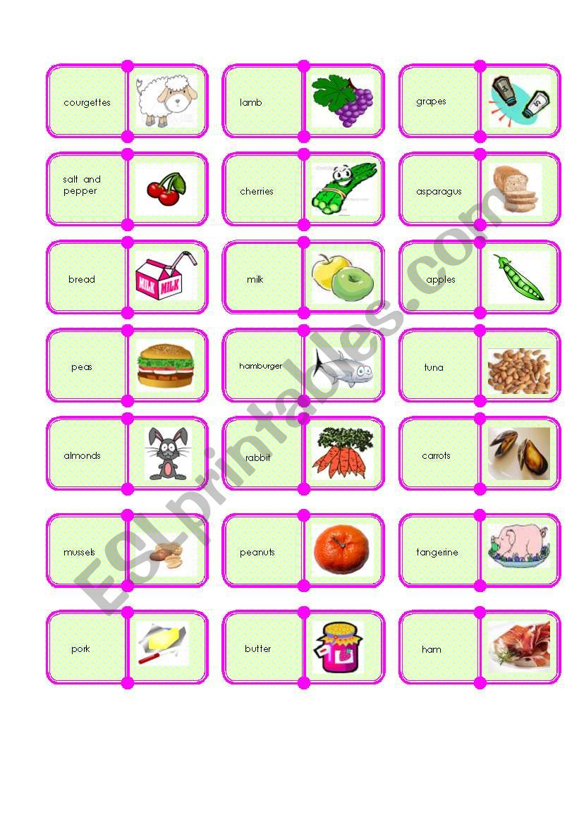 food domino 3/3 worksheet