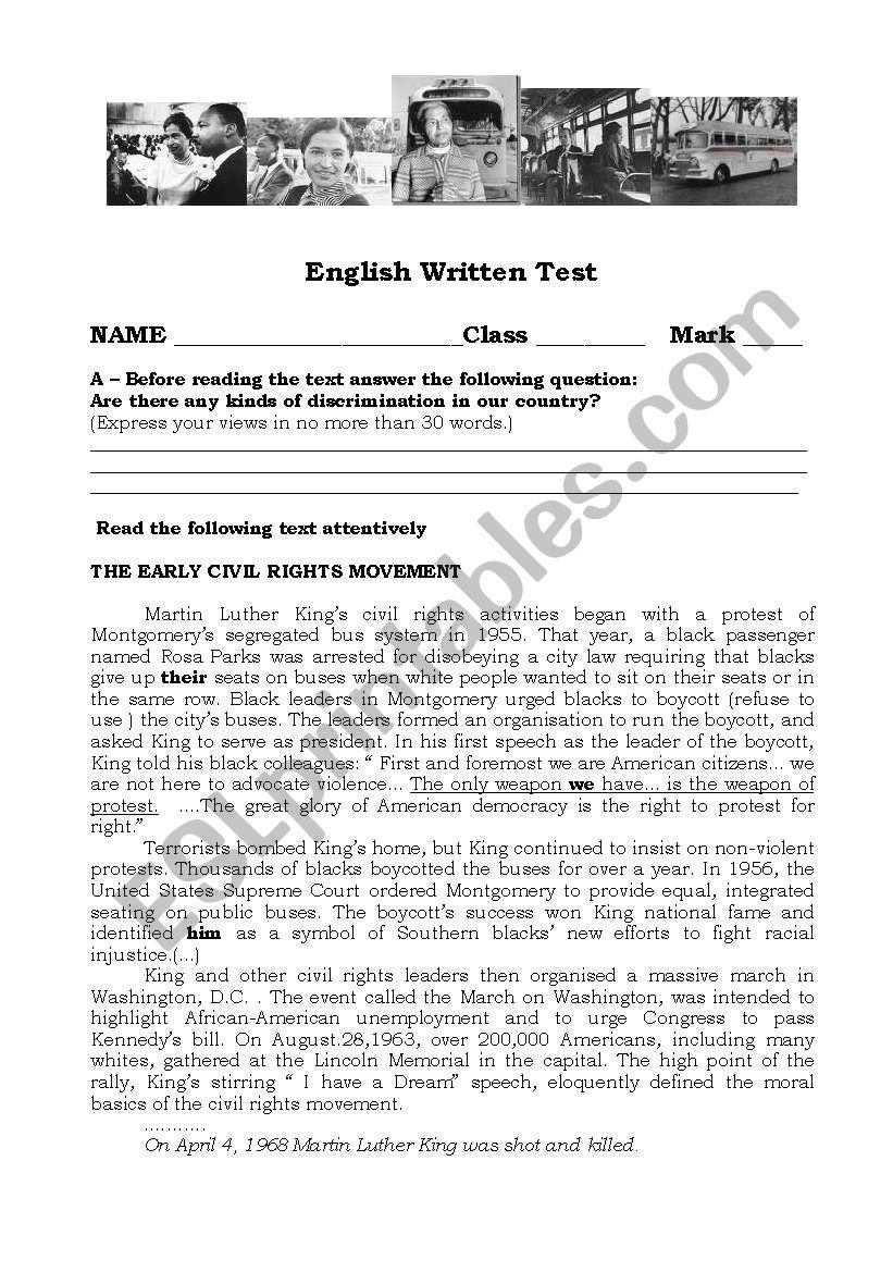 worksheet Civil Rights Movement Worksheets english worksheets the civil rights movement worksheet