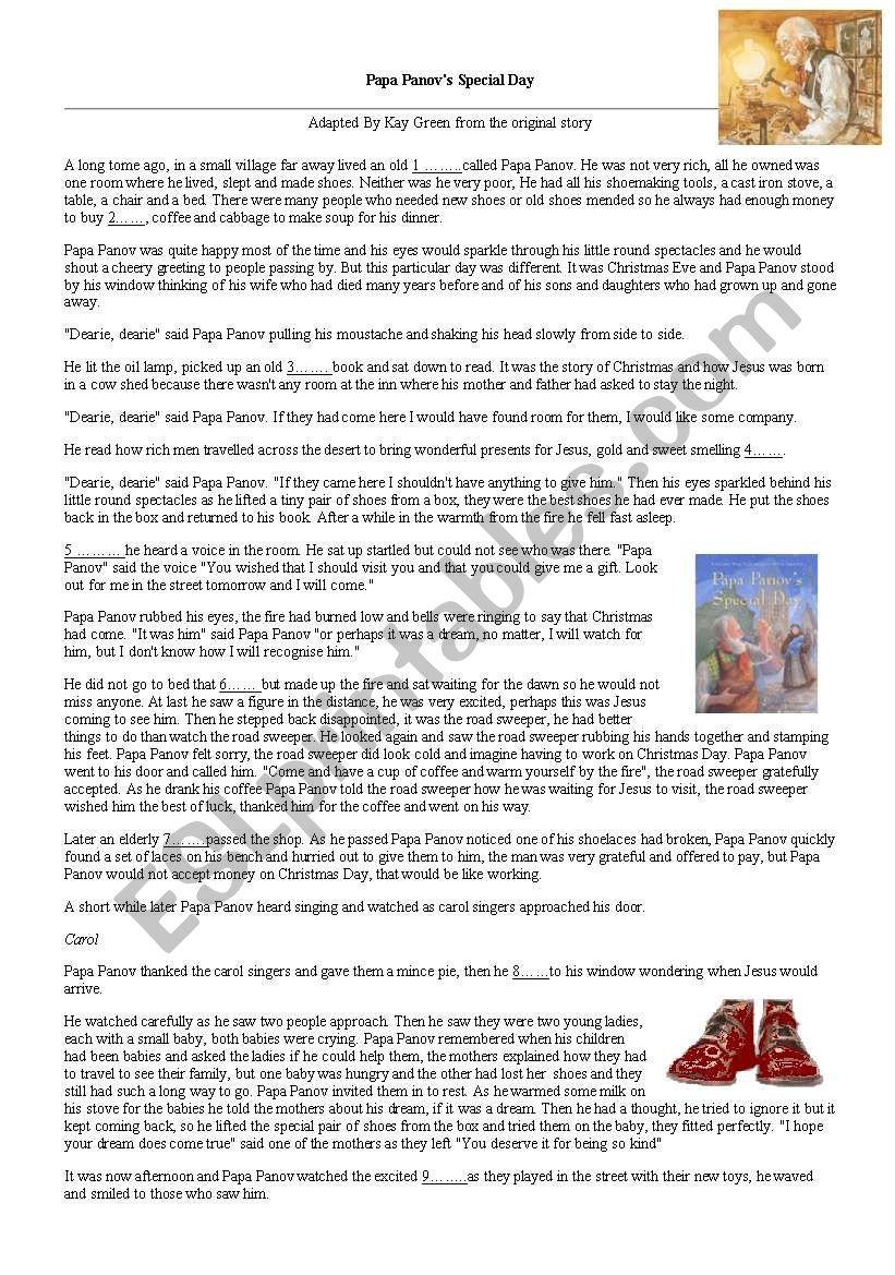 d8297f80368e English worksheets: christmas story of papa panov