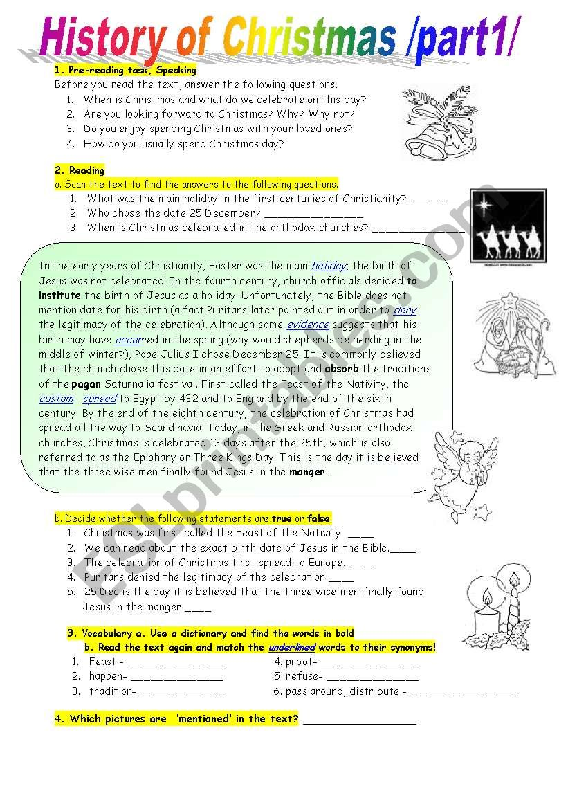 - History Of Christmas-Reading Comprehension At Intermediate Level - ESL  Worksheet By Enci77