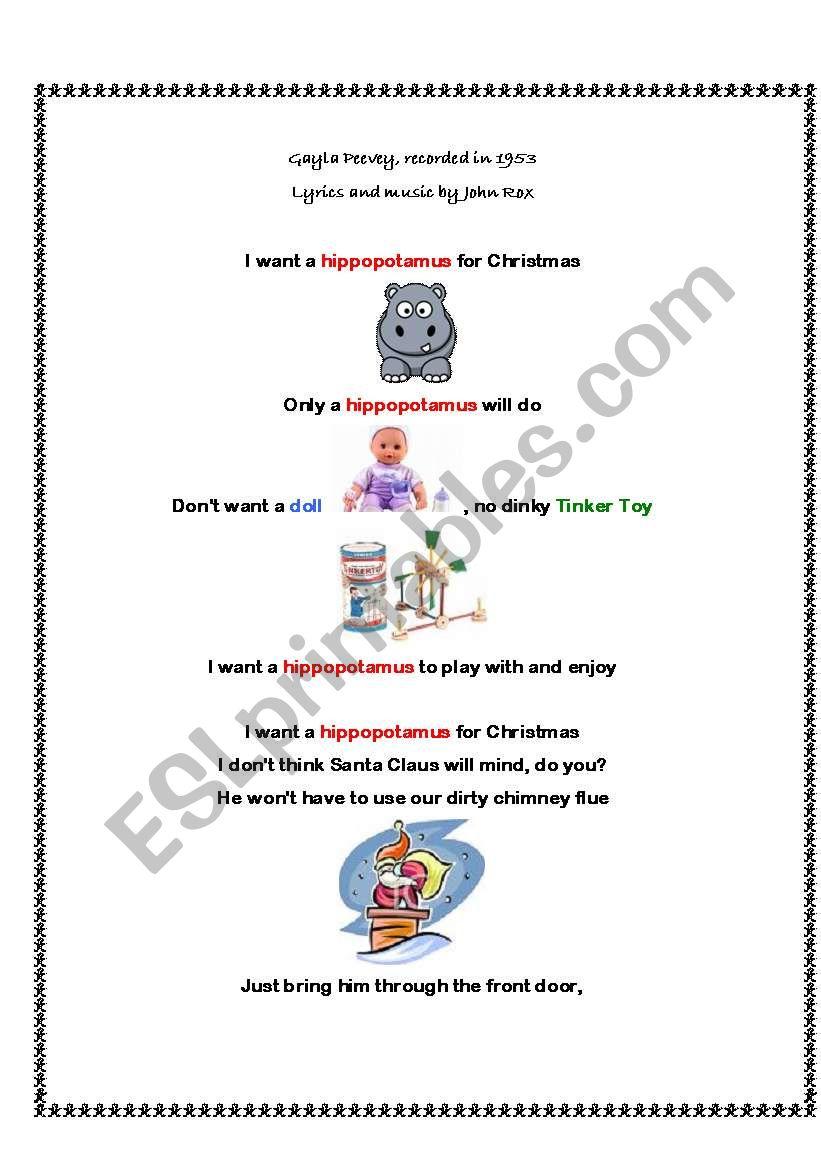 English worksheets: A Christmas Song/Poem