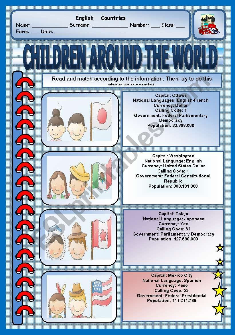 Read and match - Children around the world - Speak about your country