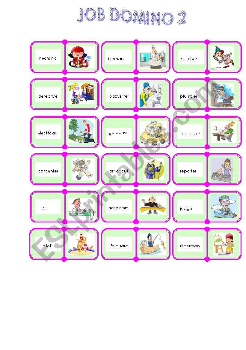 Jobs domino 2/2 worksheet