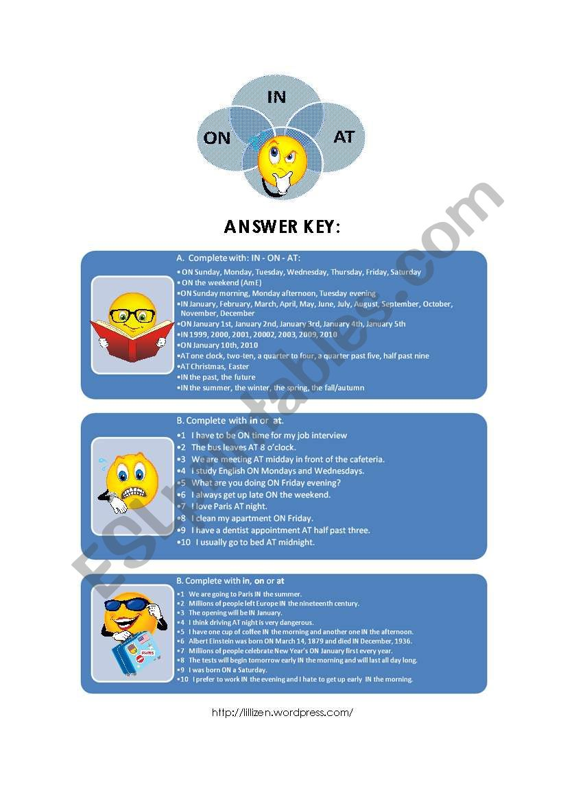 Prepositions IN ON AT - Time Expressions / Answer Key