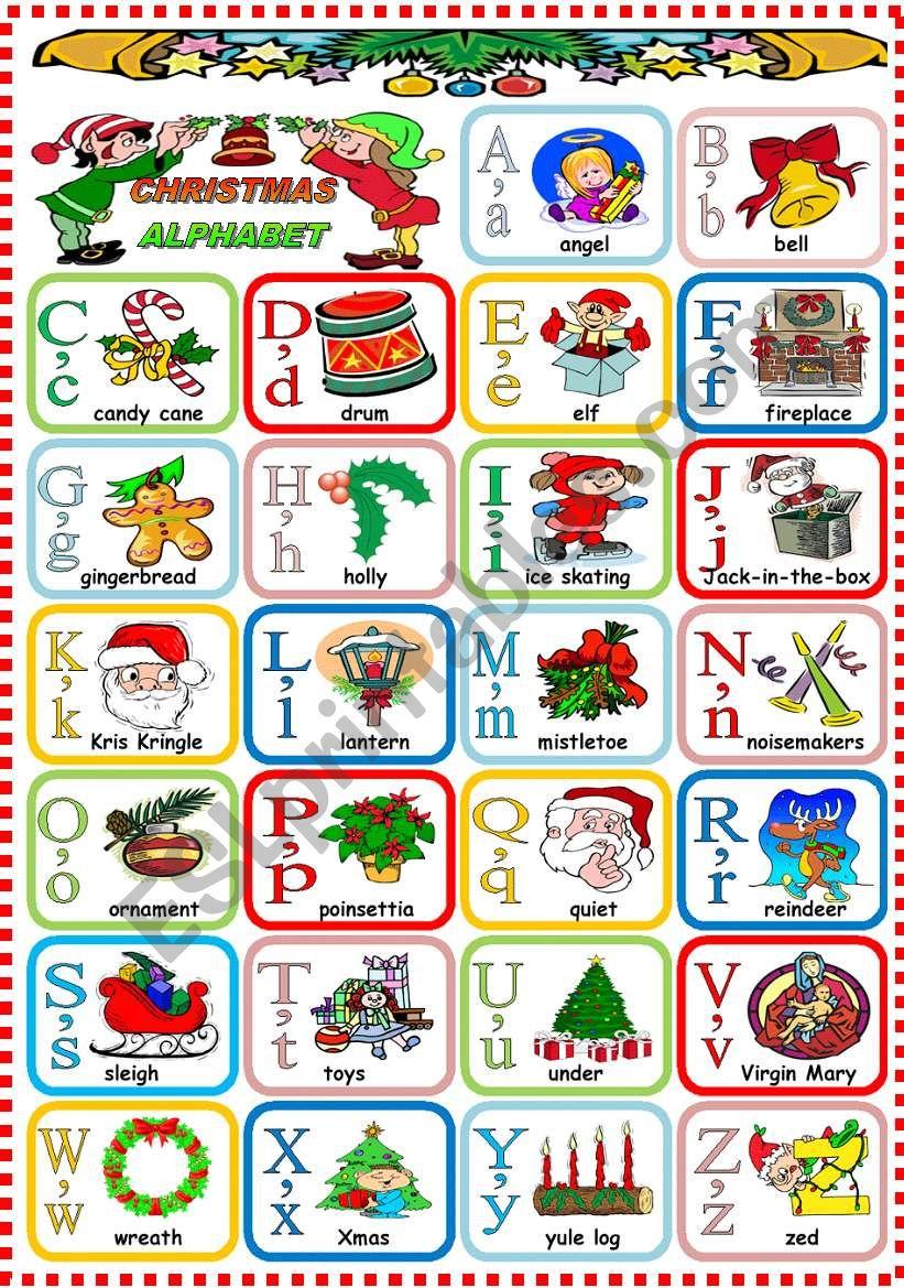Christmas alphabet esl worksheet by katiana - Alphabet noel ...