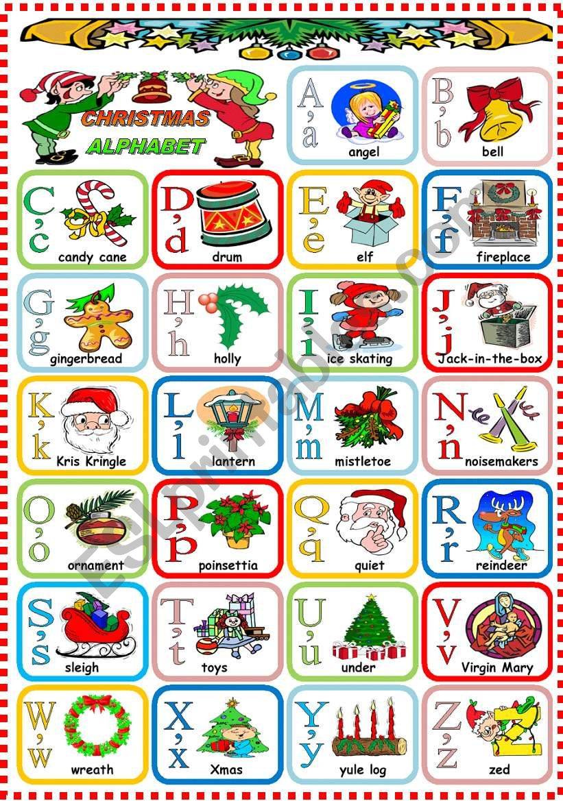 Christmas Alphabet.Christmas Alphabet Esl Worksheet By Katiana