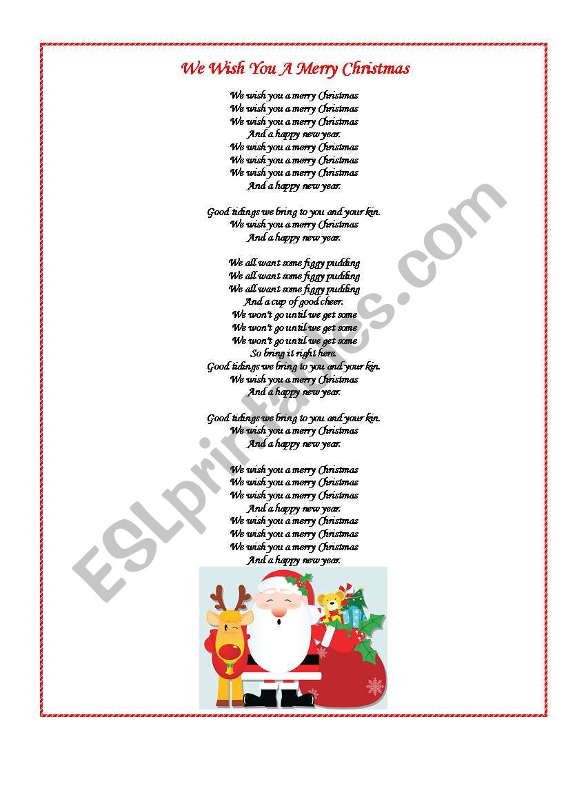 I Wish You A Merry Christmas Lyrics.We Wish You A Merry Christmas Esl Worksheet By Maschulya