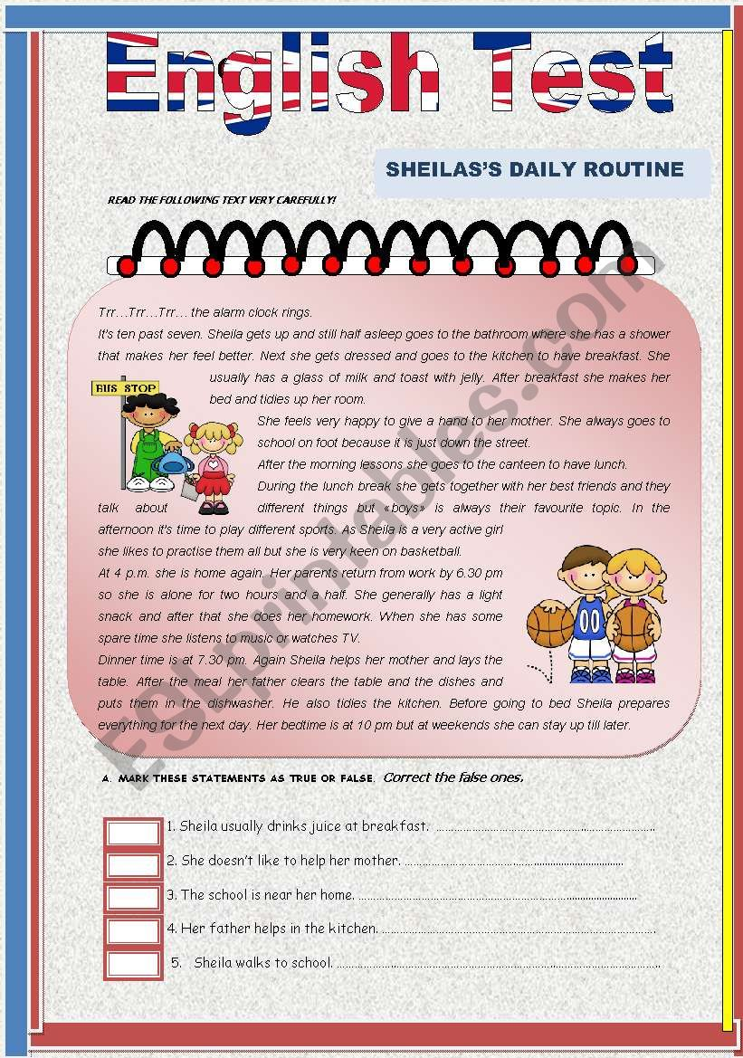 Test- Sheila´s Daily Routine worksheet