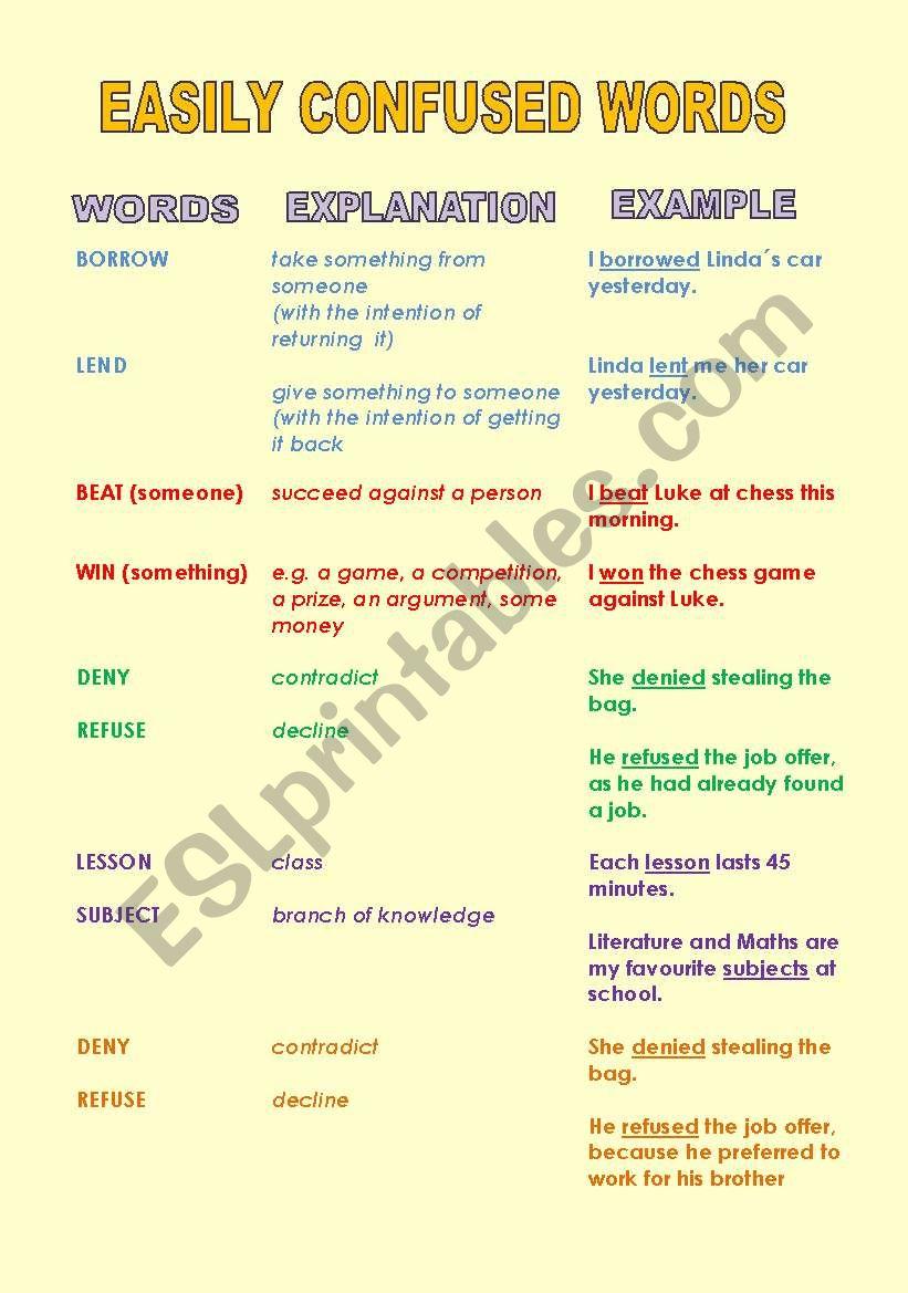 Easily confused words worksheet