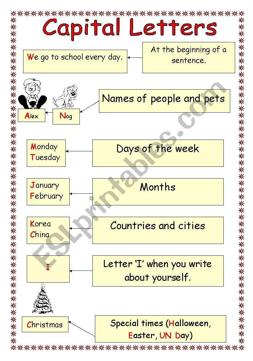 When do we write capital letters? - ESL worksheet by izulia