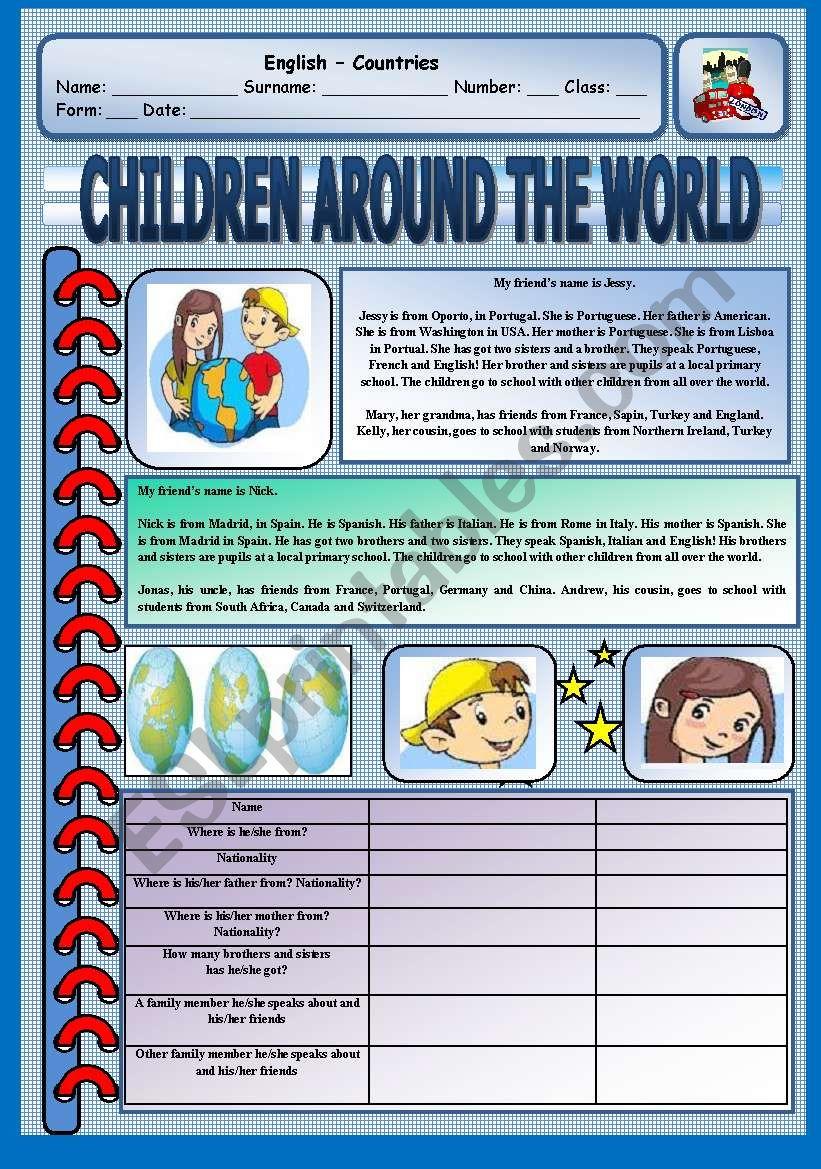 Reading Comprehension - Children around the world
