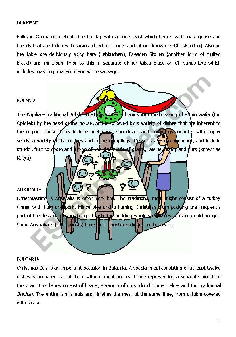 English worksheets: CHRISTMAS TRADITIONS AROUND THE WORLD (4 PAGES)