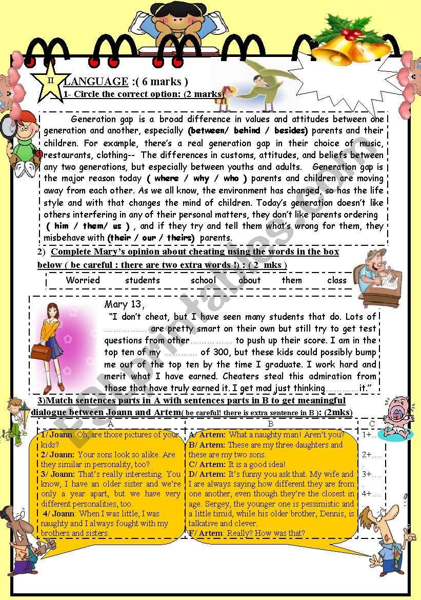 FULL TERM TEST N° 1 FOR 9TH BASIC EDUCATION