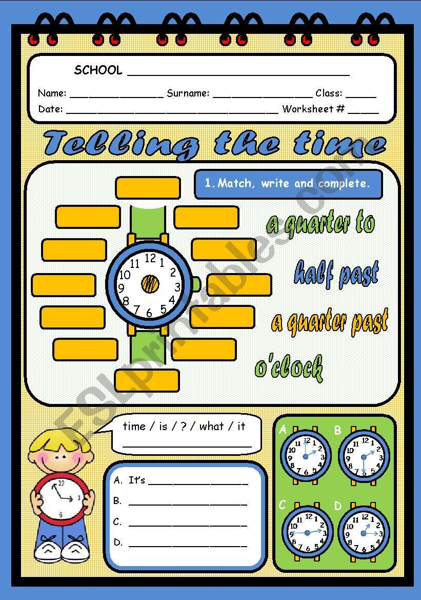TELLING THE TIME (2 PAGES) worksheet