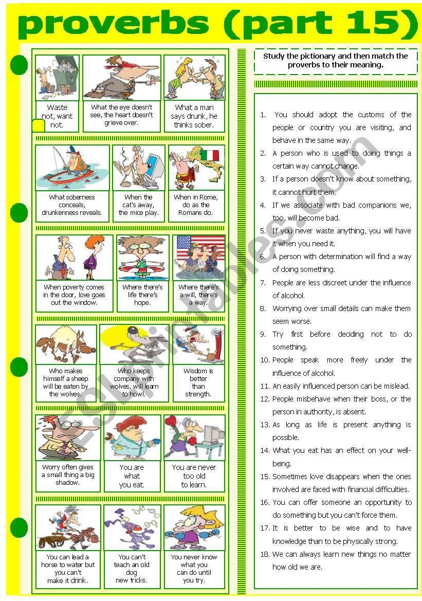 PROVERBS - PART 15 worksheet