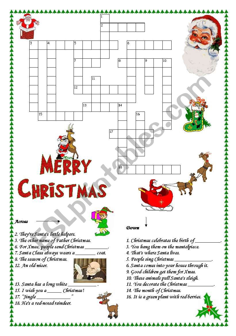 Christmas Crosswords Esl Worksheet By I Love English