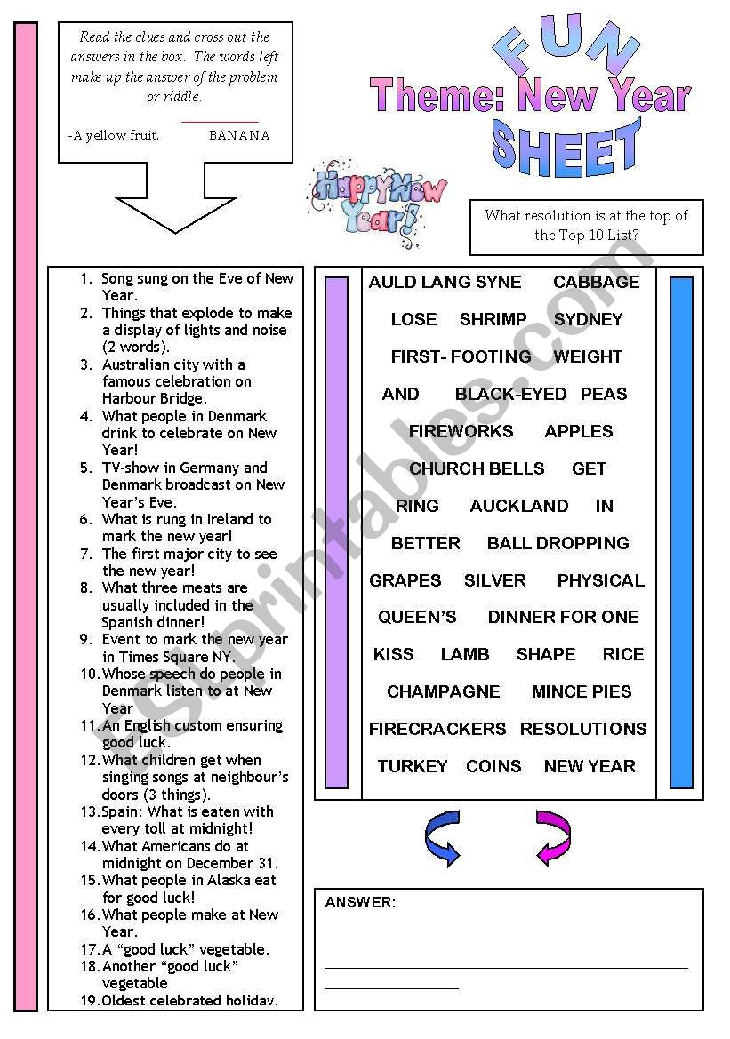 Fun Sheet Theme: New Year worksheet