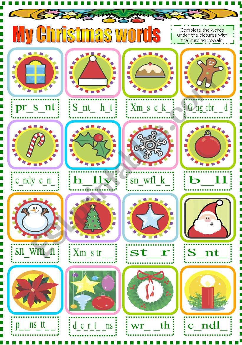 Christmas Words That Start With A.My Christmas Words B W Version Included Esl Worksheet By