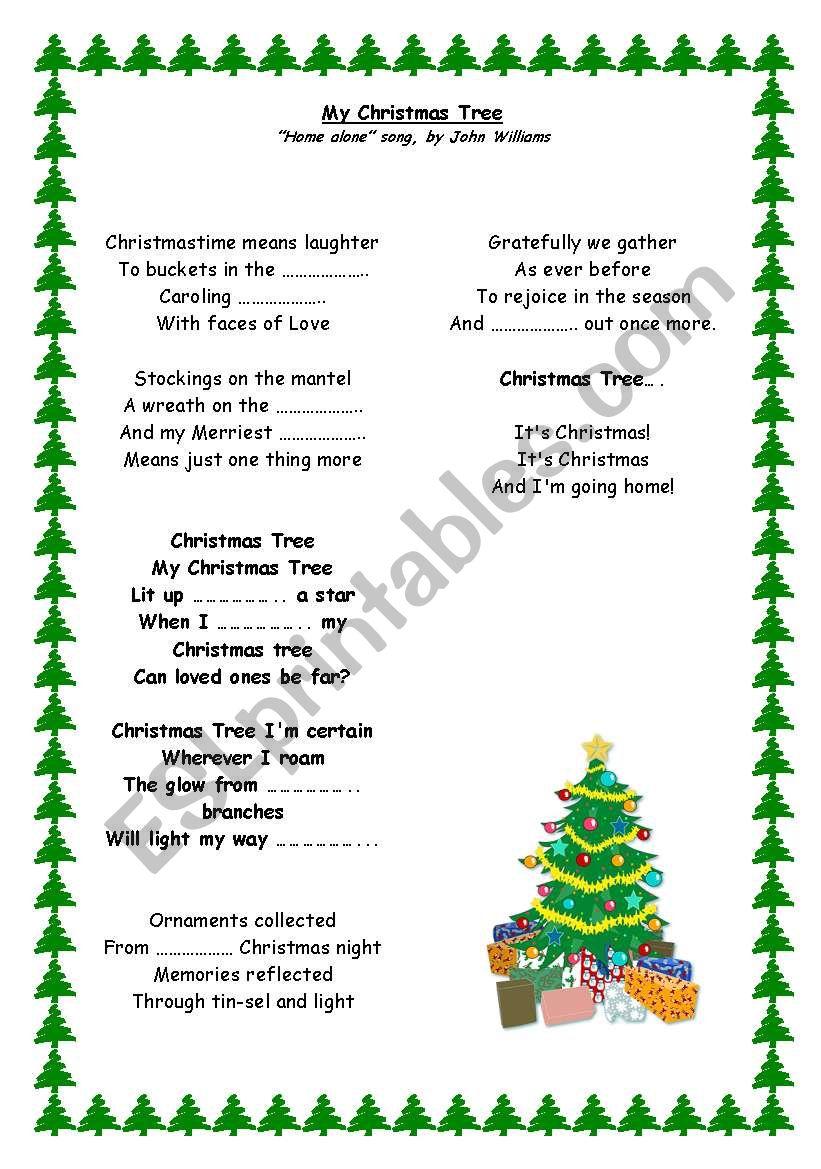 My christmas tree (Home Alone song, by John Williams) - ESL worksheet by xiexiexie