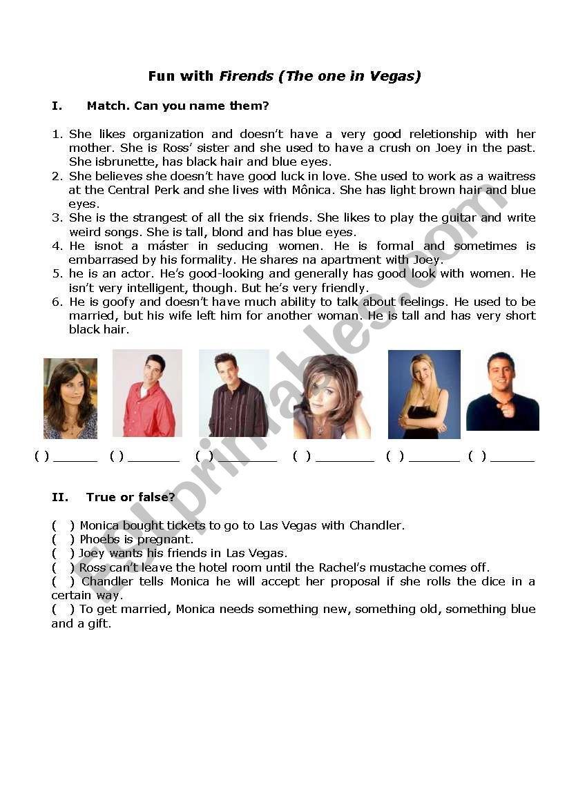 Friends - The one in Vegas worksheet