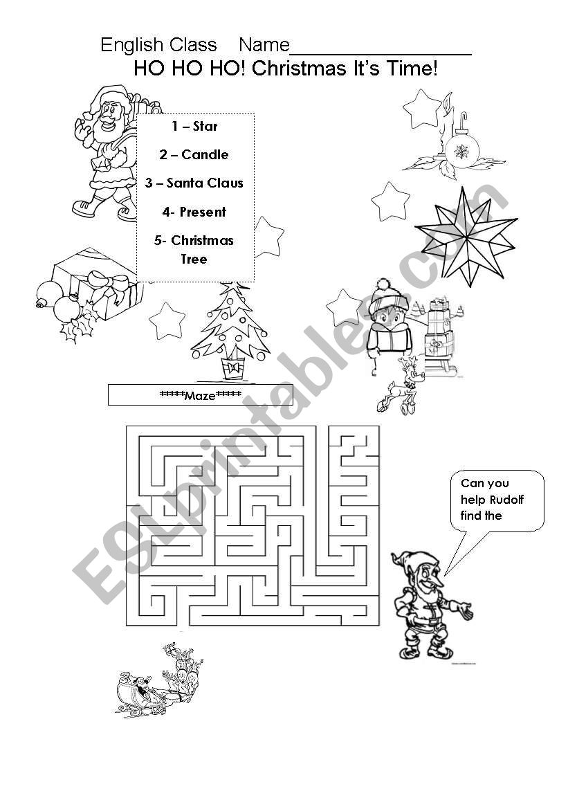 Christmas - Matching words and solving a maze - ESL ...