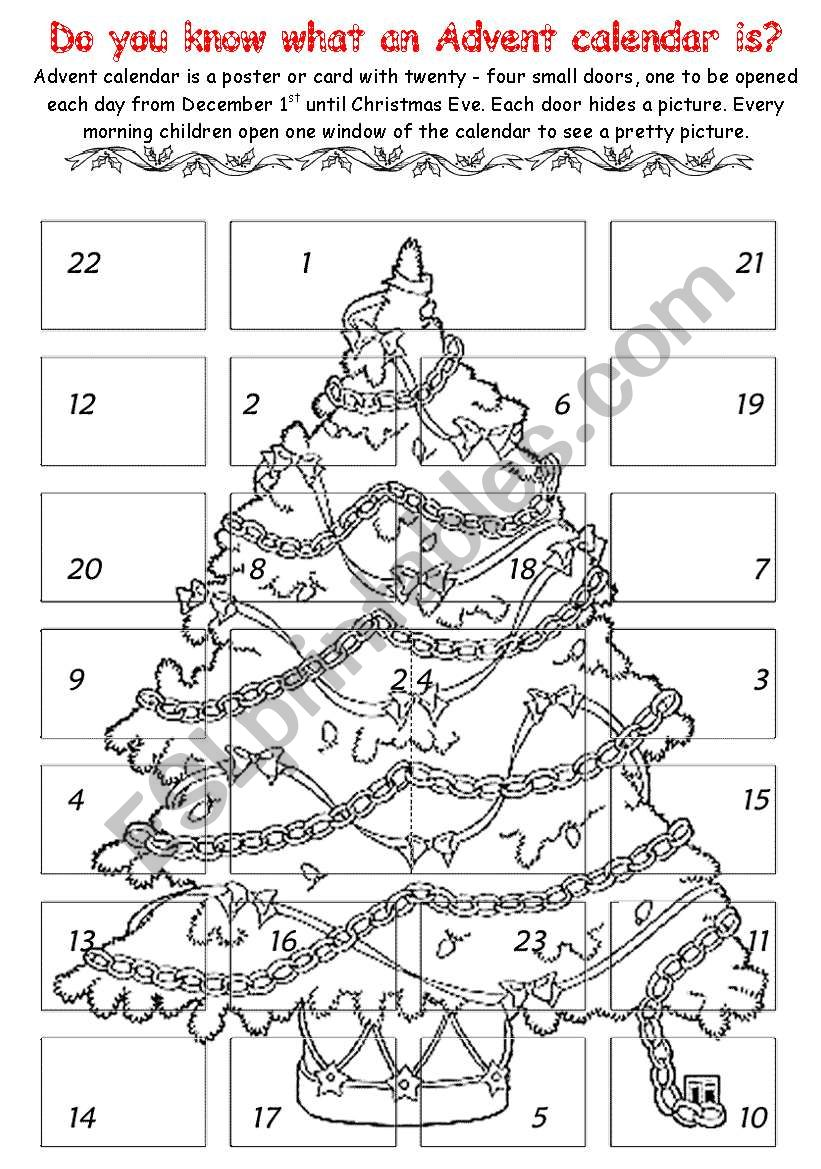 advent calendar 1 - ESL worksheet by chiaretta