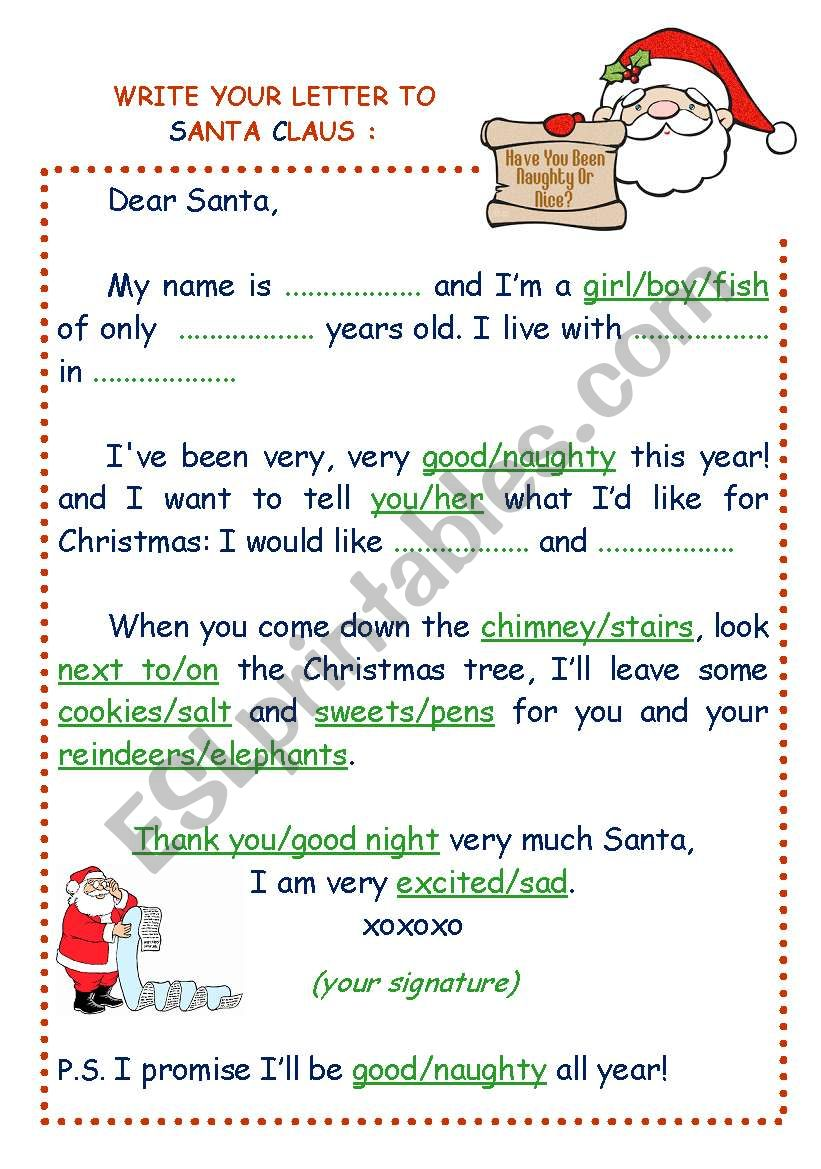 Write Your Letter To Santa Claus  Esl Worksheet By Estelle