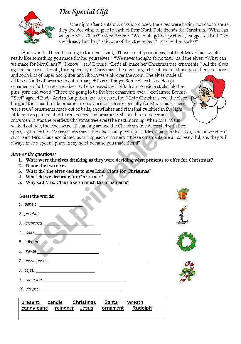 Christmas story worksheet
