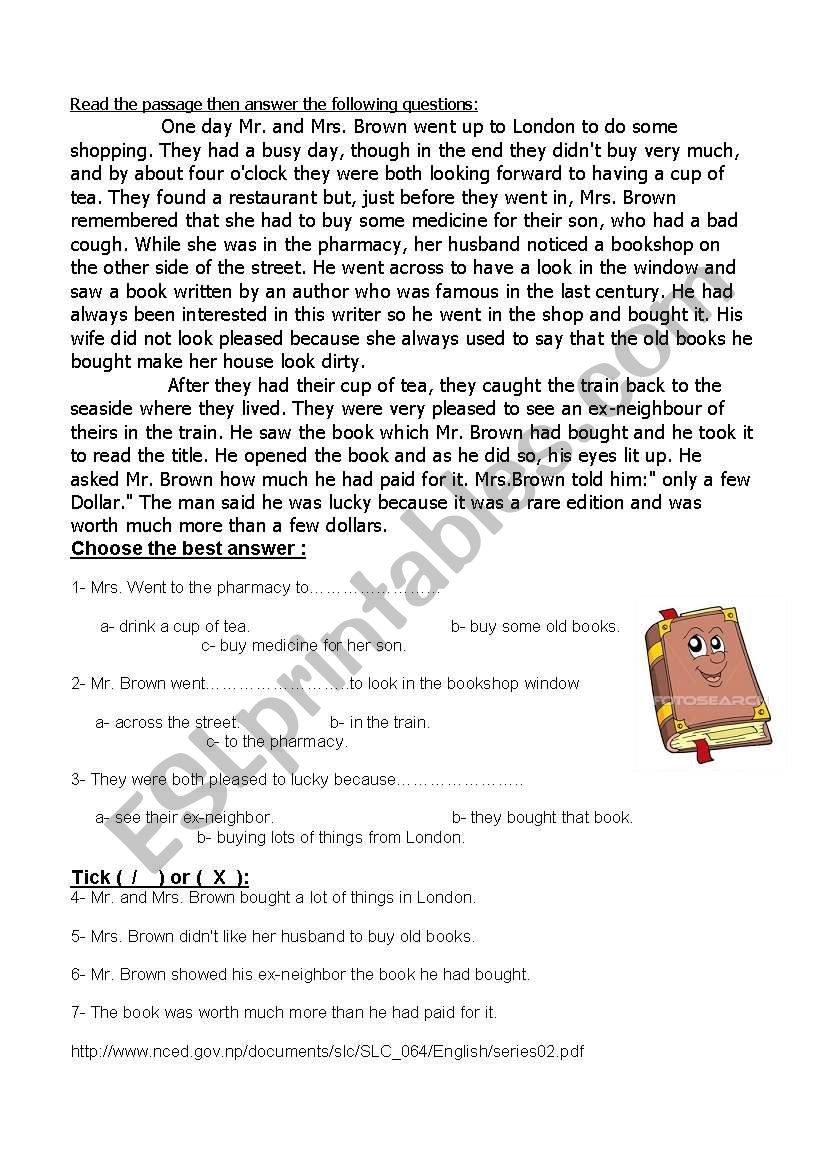 The Valuable book worksheet