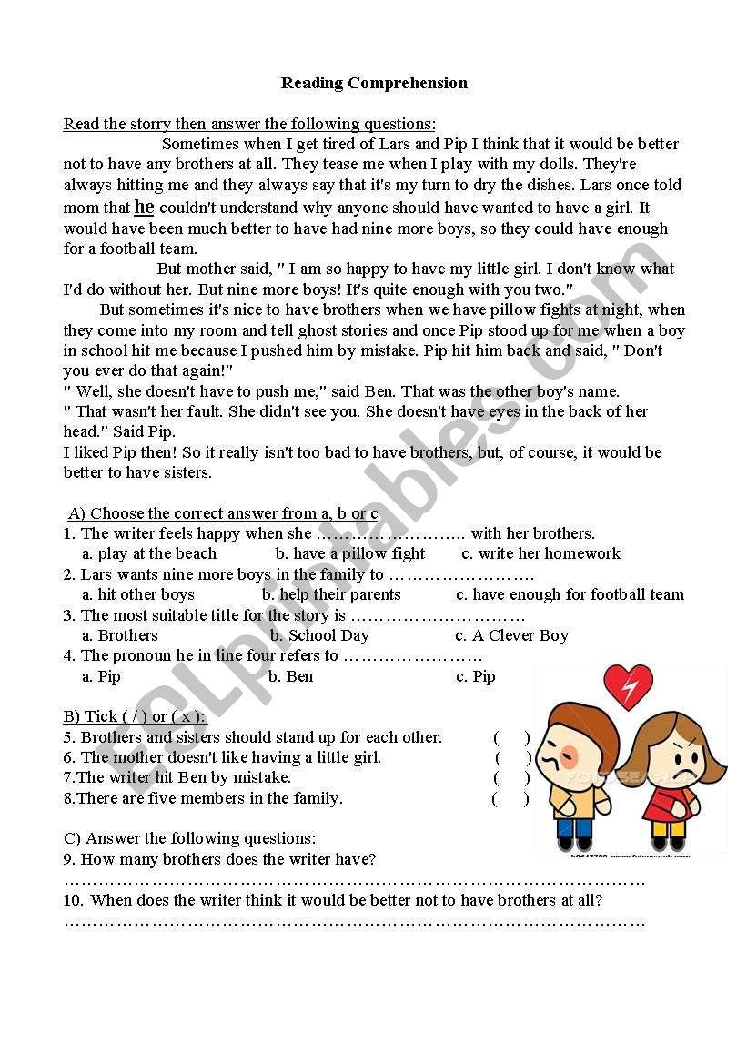 Girl in the family worksheet