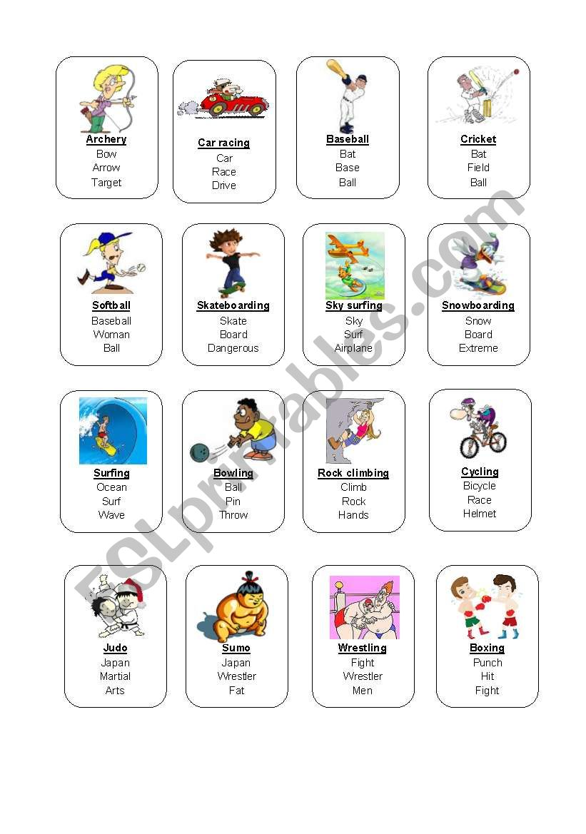 Sports Taboo cards 1/2 worksheet