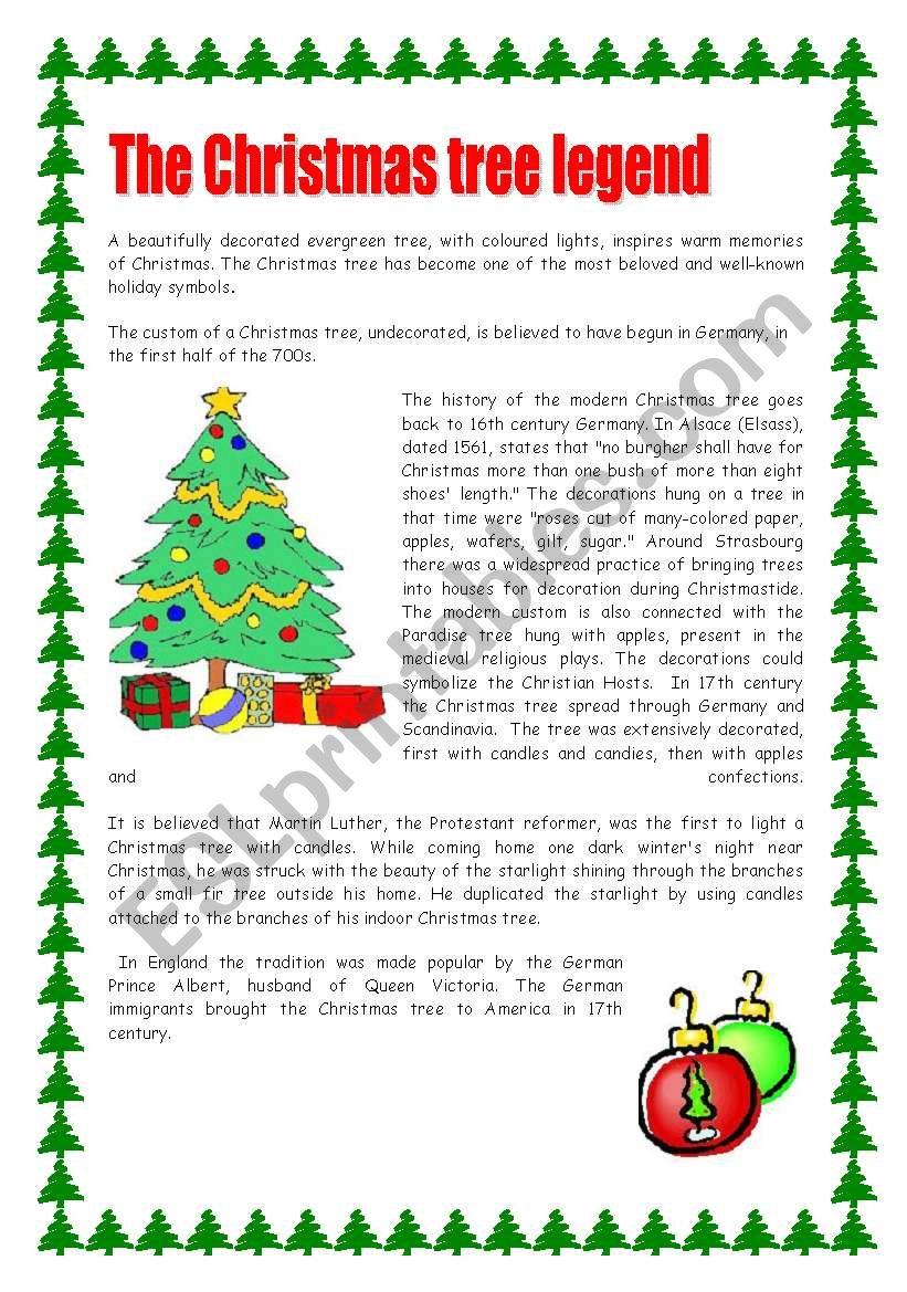 picture relating to Christmas Pickle Story Printable named The Xmas tree legend / 2 web pages - ESL worksheet by means of swissprof