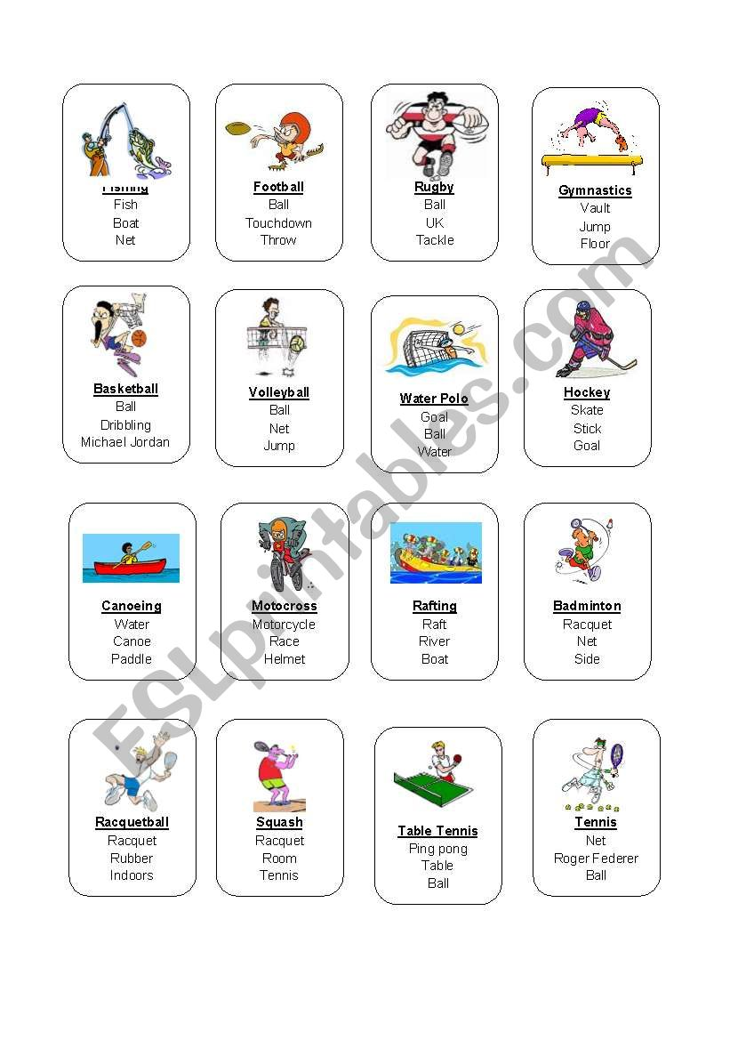 Sports Taboo Game 22 Esl Worksheet By Idebere
