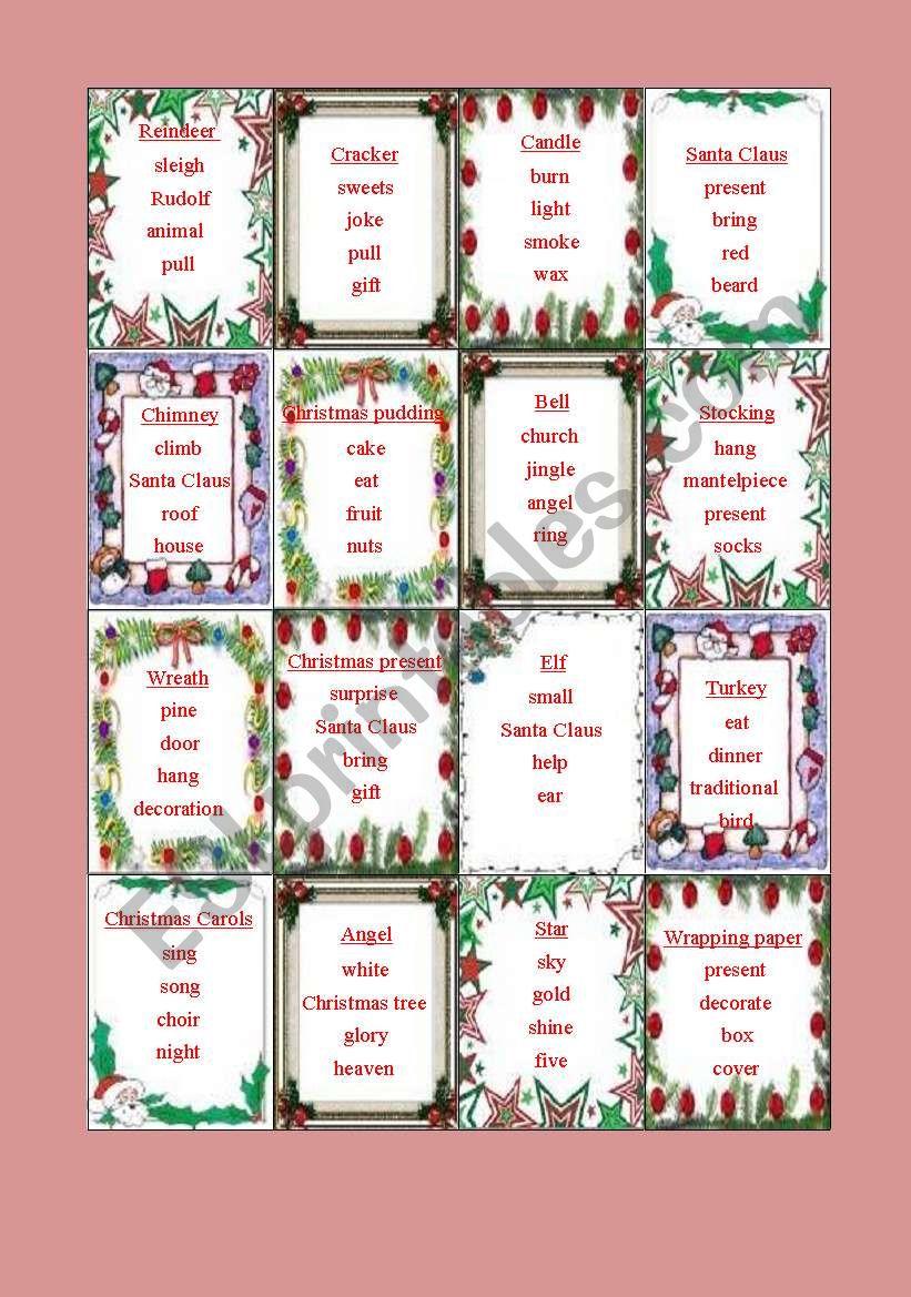 Christmas Taboo Esl Worksheet By Csillagbimbo