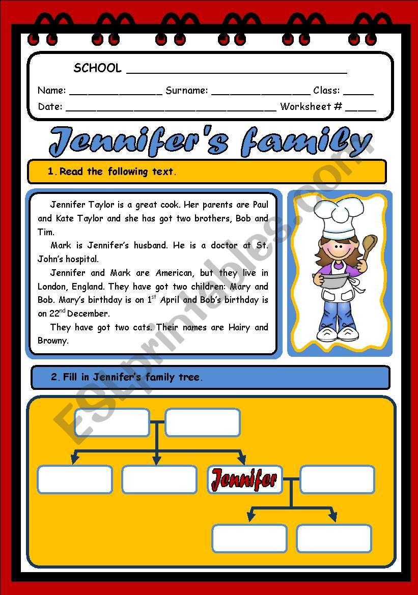 JENNIFER´S FAMILY ( 2 PAGES) worksheet
