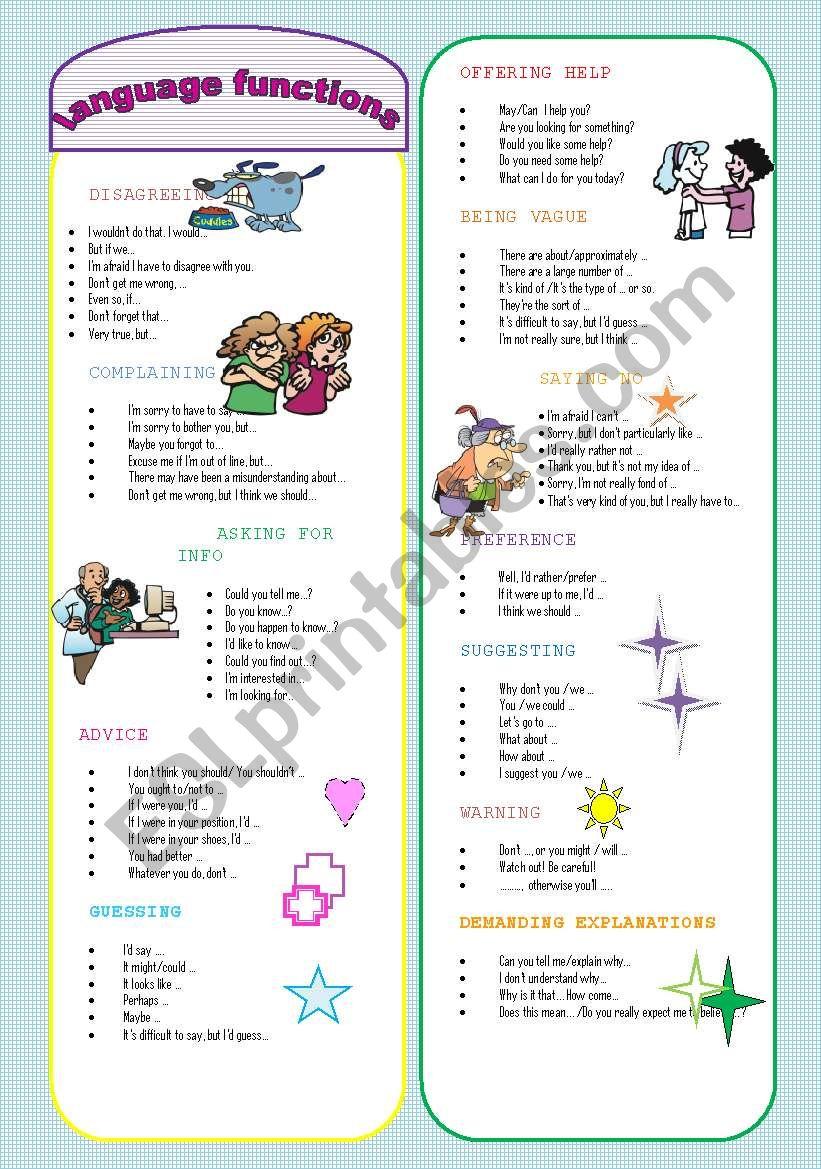 FUNCTIONS BOOKMARK worksheet