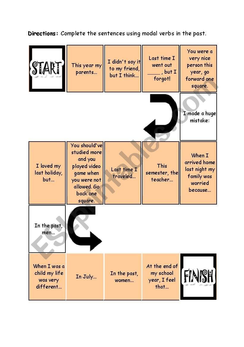 Board game - modal verbs worksheet