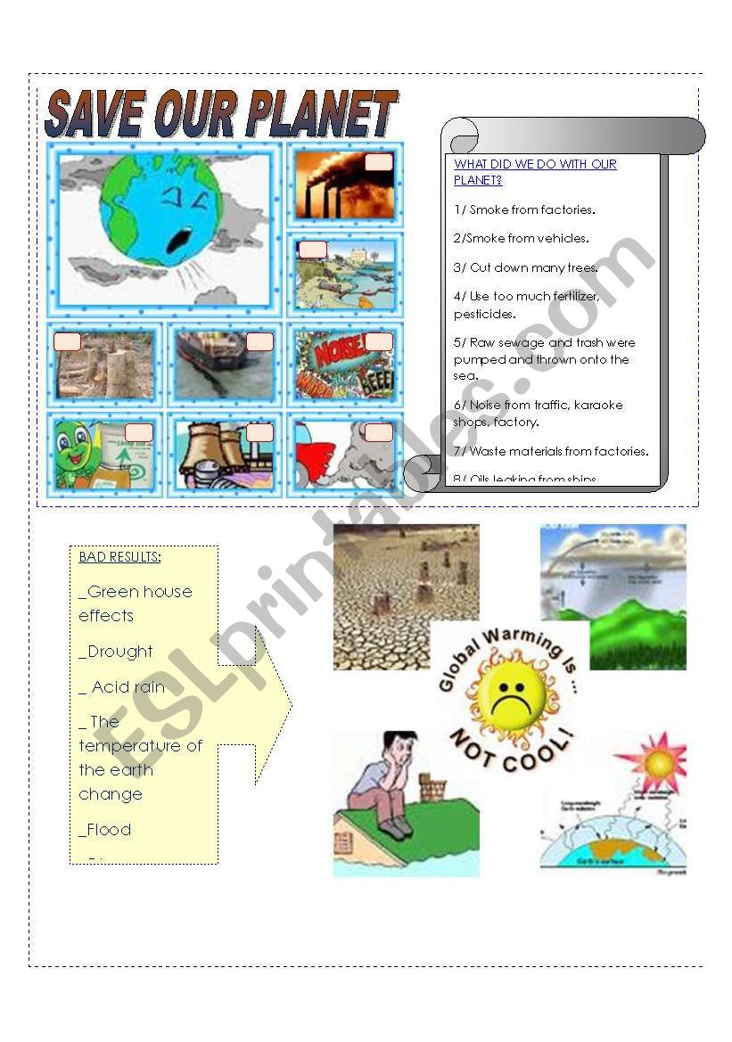 SAVE OUR PLANET worksheet