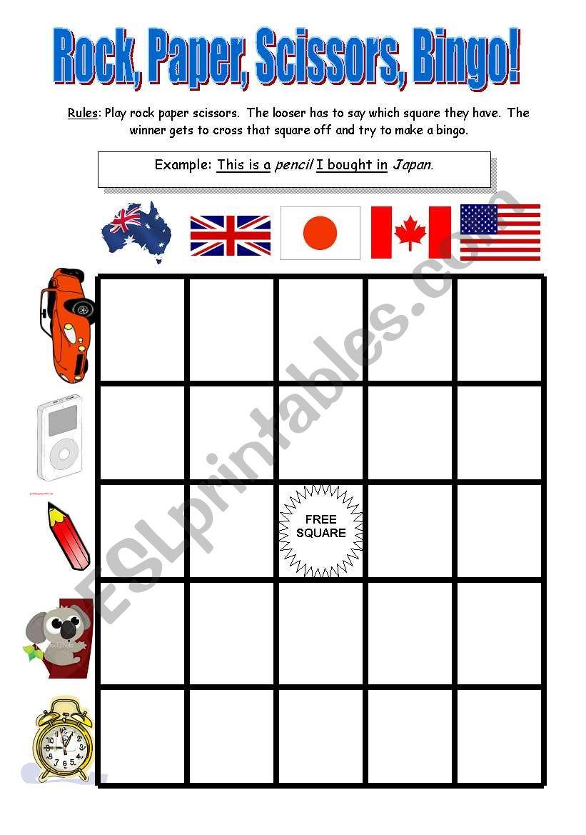 Reduced Relative Clause Rock Paper Scissors Bingo Esl Worksheet By Jessefriday
