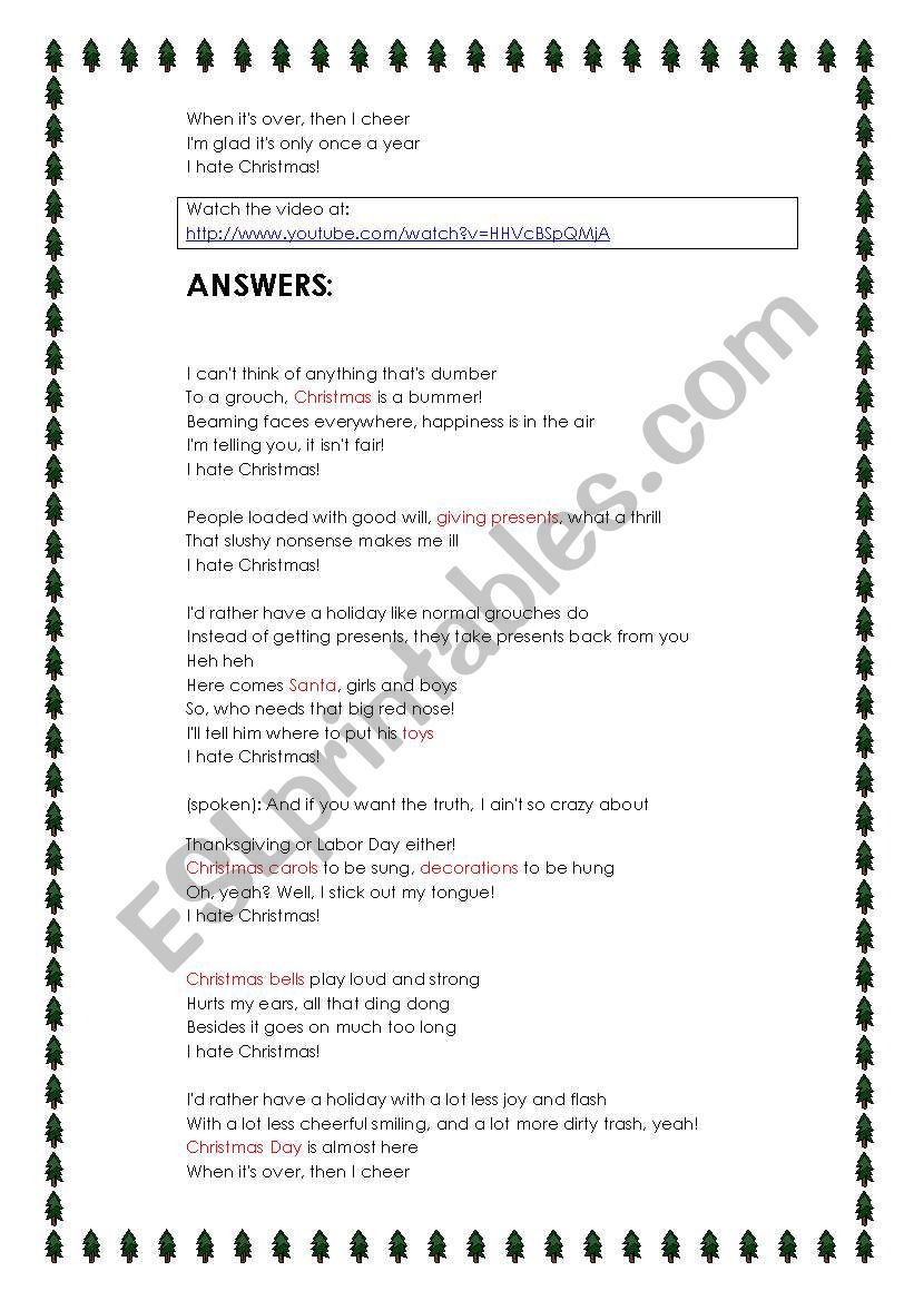 i hate christmas song answers included esl worksheet by joebcn - Dirty Christmas Song