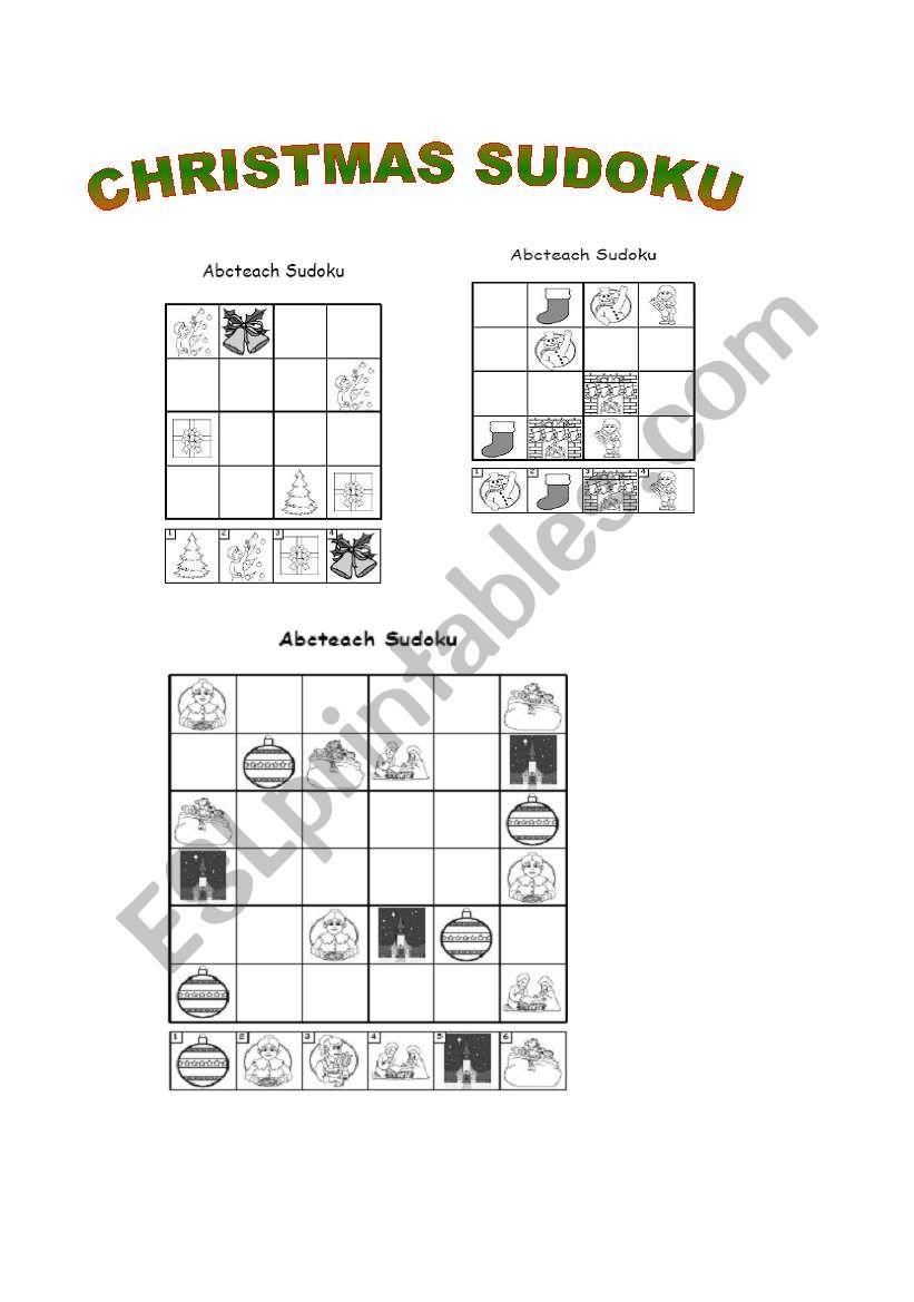 Christmas Sudoku.Christmas Sudoku Esl Worksheet By Susanasap