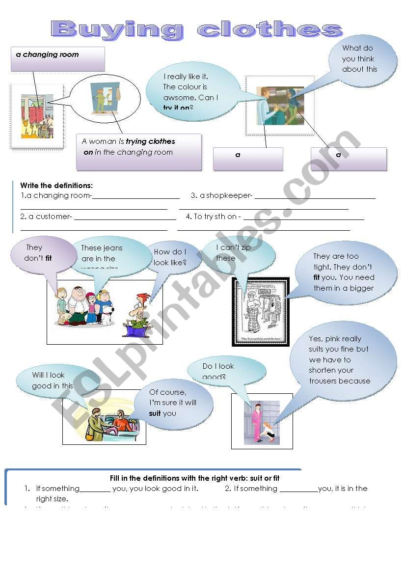 Buying clothes: Fit, suit, try on, size +dialogues in the shop ELEMENTARY AND PRE- INTERMEDIATE