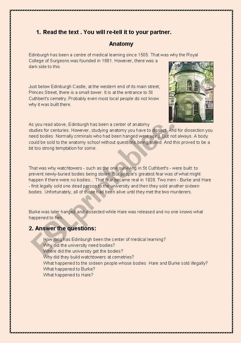 Edinburgh - legends worksheet
