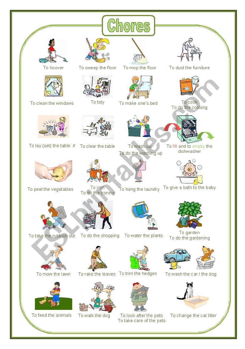 Chores: a pictionary (fully editable)