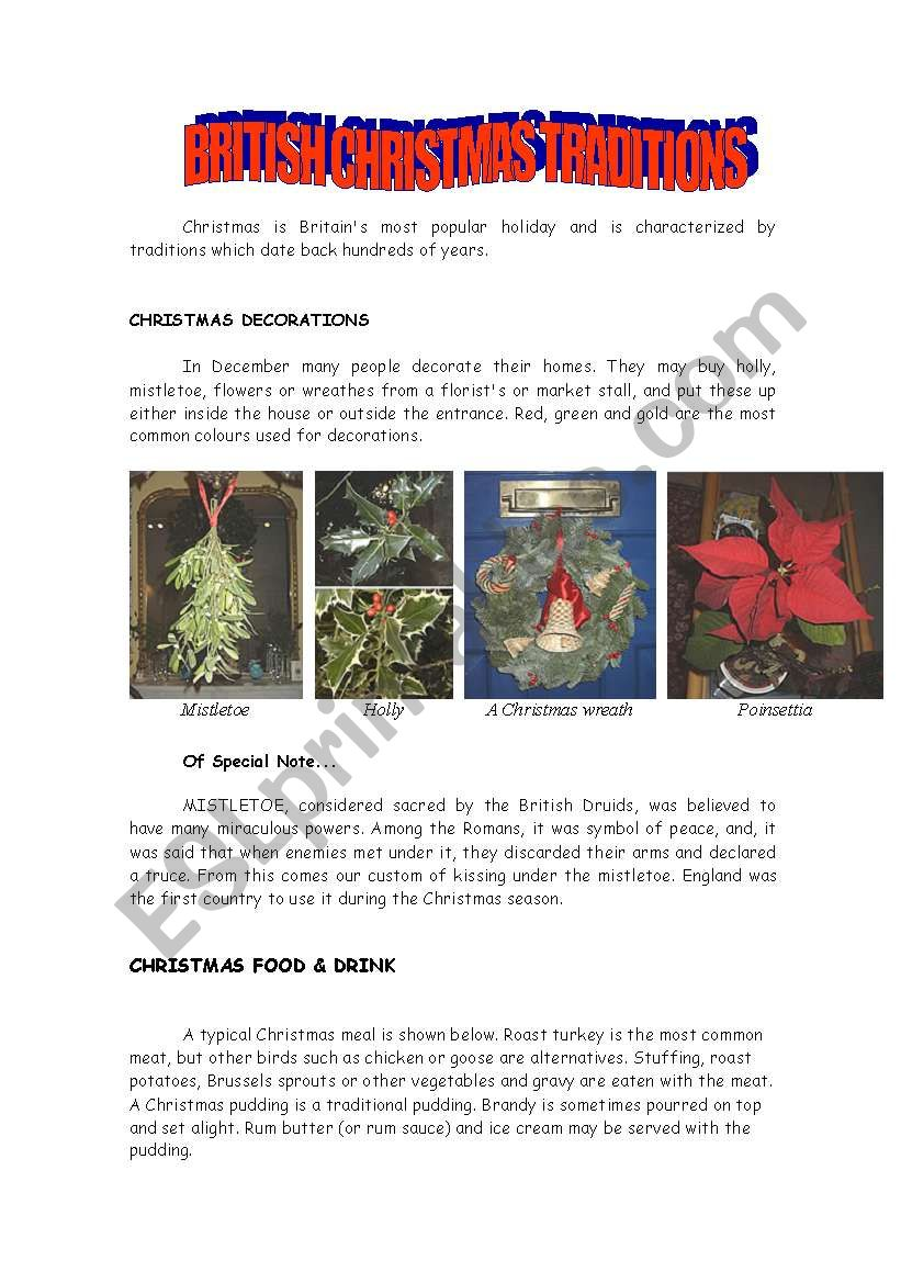 british christmas traditions worksheet - British Christmas Traditions