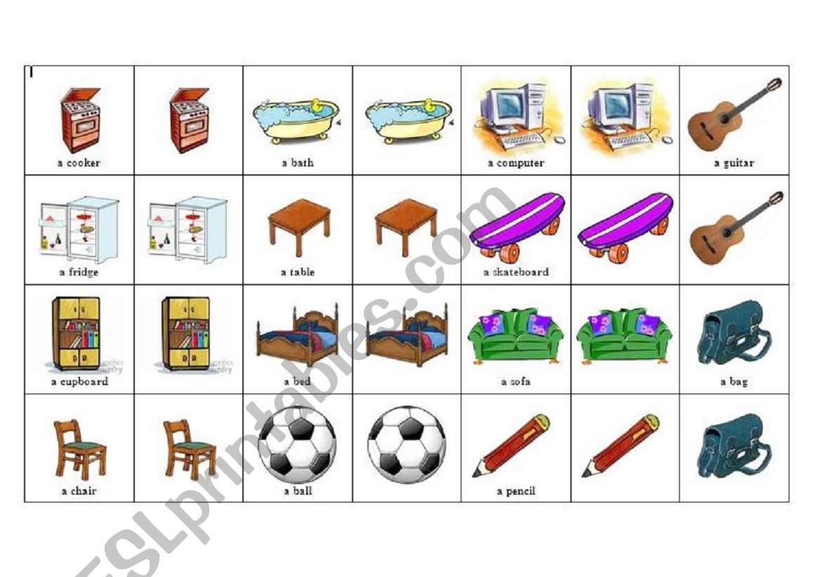 memory game - pieces of furniture and items to be found in a child´s room