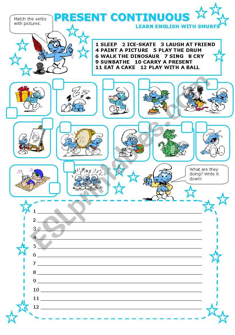 PRESENT CONTINUOUS with smurfs