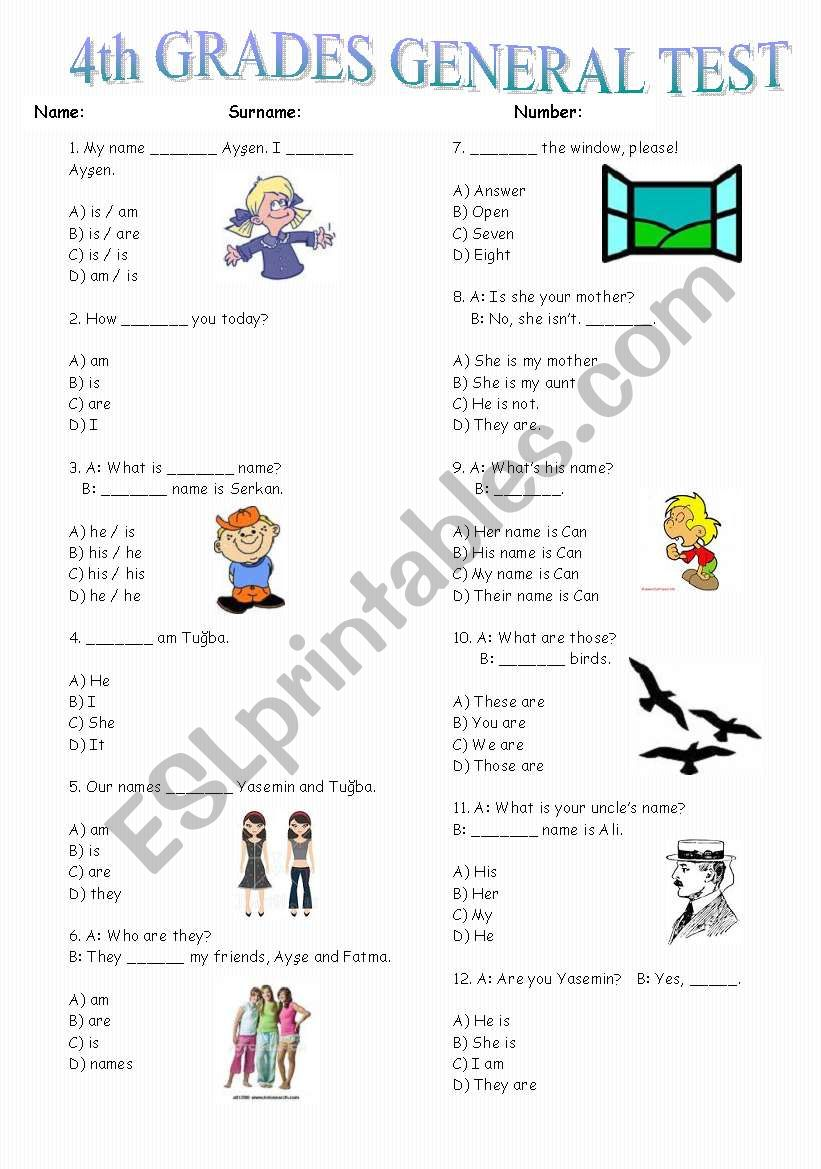 4th Grades Test  -75 Questions (Part 1)